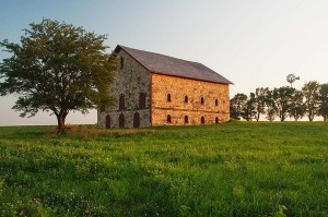 Elijah Filley Stone Barn and Masonic Temple, Filley, Nebraska, copyright 2015 David Leland Hyde. Stone barns are far more rare than round barns, except in New England.