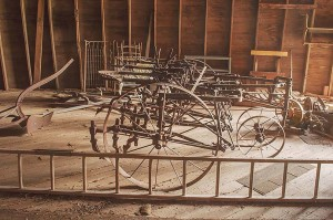 Old Farm Equipment Inside Starke Round Barn Near Red Cloud, Nebraska, Midwest #Heartland United States by David Leland Hyde. (Click on image to see large.)