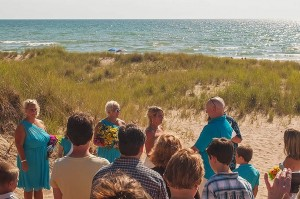 Moving Moment In Hansen Wedding Ceremony, Lake Michigan, Meinert Park Beach, West Coast of Michigan by David Leland Hyde.