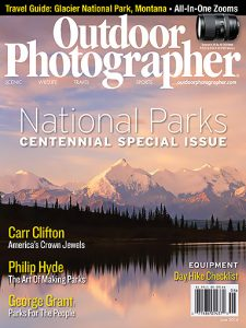 Outdoor Photographer Cover, June 2016 National Parks Centennial Special Issue, cover photograph Mount Deception, Brooks and Silverthrone, Wonder Lake, the Alaska Range, Denali National Park by Carr Clifton.