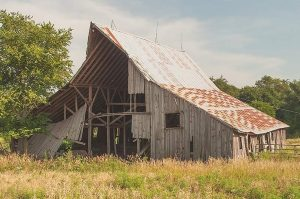 Northwest Perspective, Western Barn With Sheds, Abandoned Barn Near Fairbury, Nebraska, 2015 by David Leland Hyde.