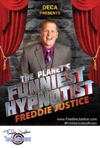 Open curtain Hypnotist Freddie Justice Fundraising poster