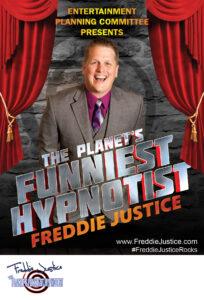 Open curtain Hypnotist Freddie Justice Ent Cmt poster
