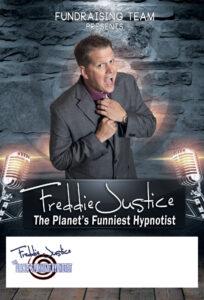 Brick grey Hypnotist Freddie Justice Fundraising poster