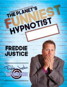Light blue Hypnotist Freddie Justice Fundraising poster