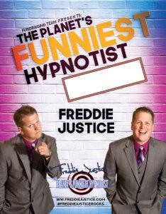 Pink blue Hypnotist Freddie Justice Fundraising poster