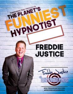 White blue Hypnotist Freddie Justice Fundraising poster