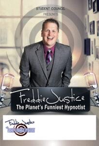 Spiral room Hypnotist Freddie Justice Fundraising poster
