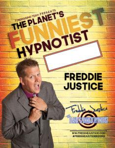 Yellow brick Hypnotist Freddie Justice Fundraising poster
