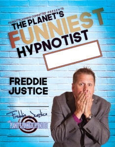 Light blue Hypnotist Freddie Justice Parent Cmtee poster