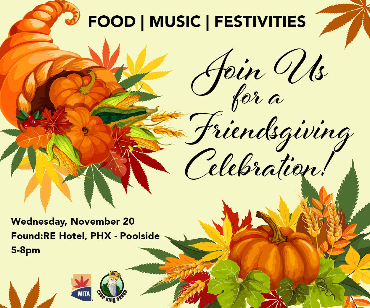 Join us for a thanksgiving celebration! Wednesday, November 20 @ RE Hotel, Phoenix. 5 to 8pm, poolside