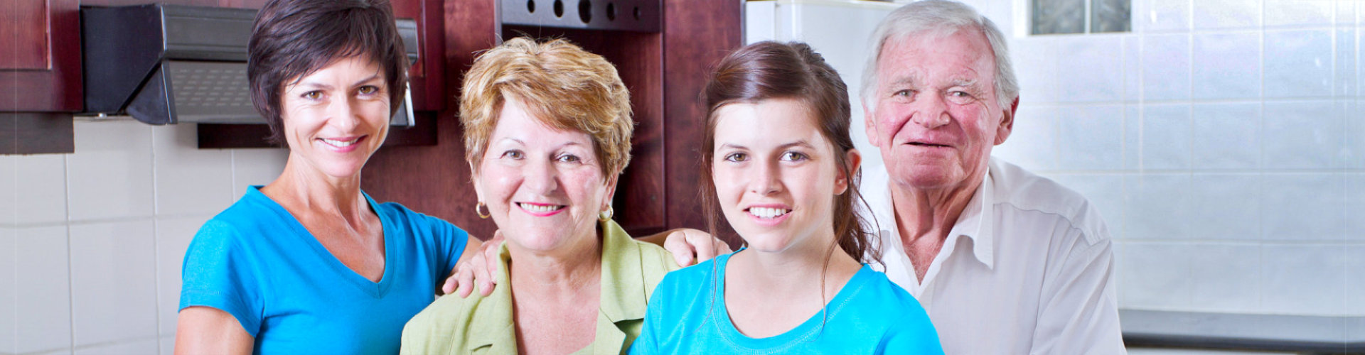 family portrait in kitchen