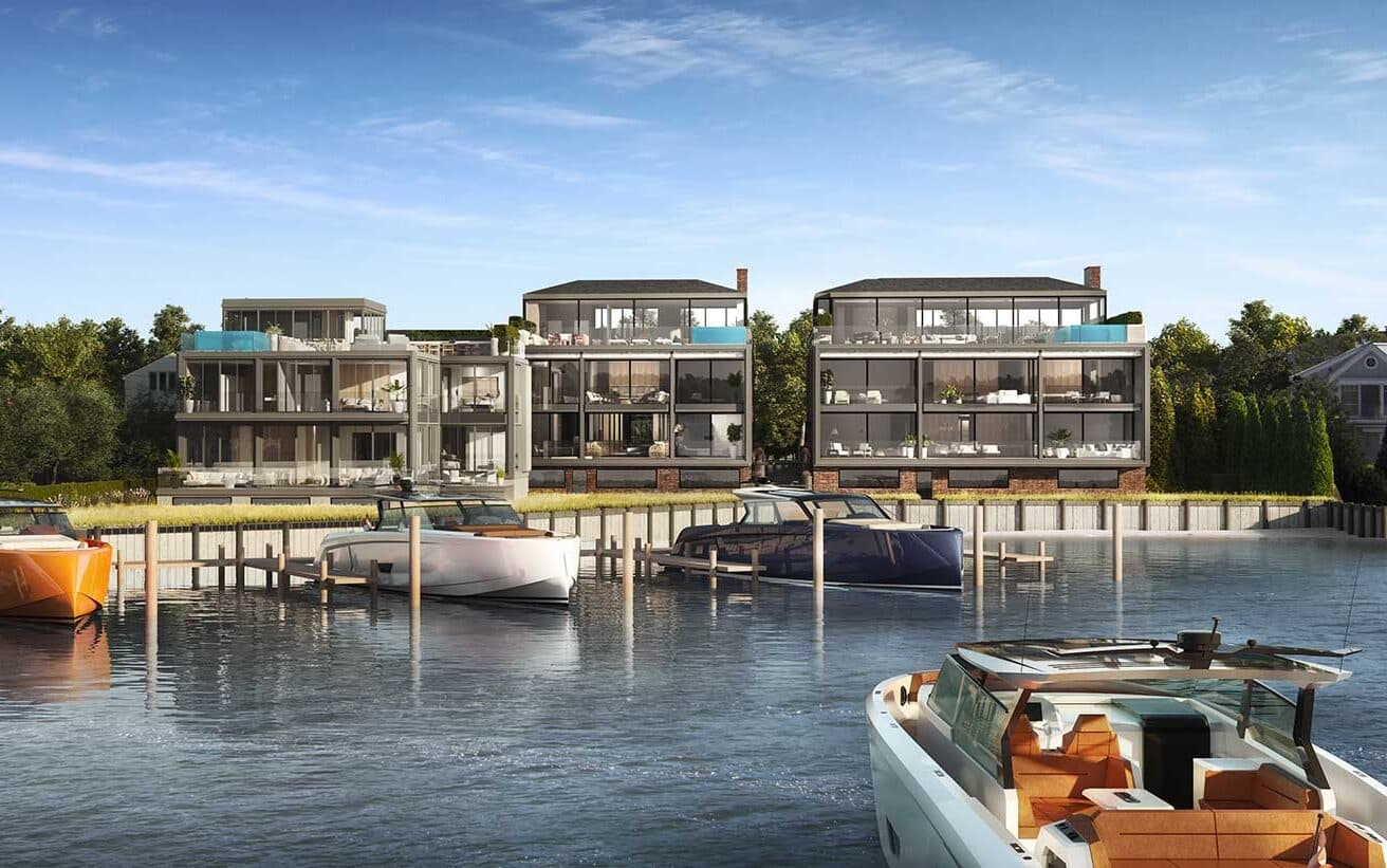2 West Water will transform a formerly blighted parcel into a luxury destination with a host of amenities and amazing views. View from the water rendered with Vanquish Yachts' new VQ 58 and private dock.