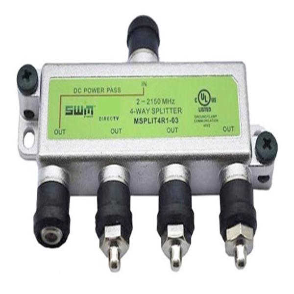 4 Way Splitter, 1 Port Power Pass, 2-2150MHz