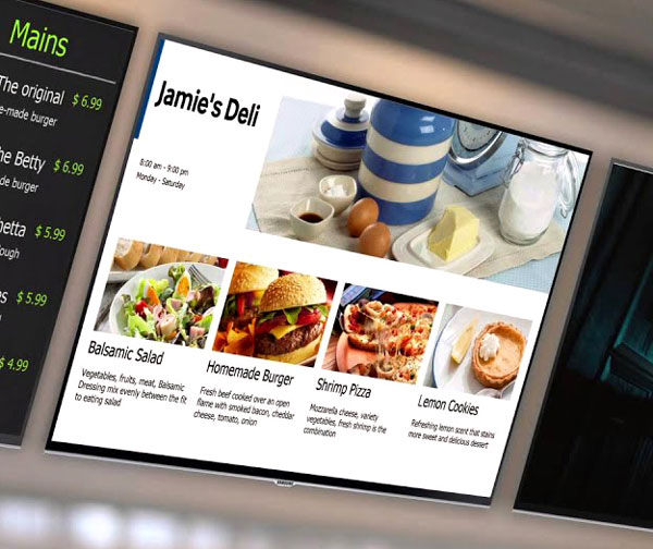 Commercial display showing restaurant's menu