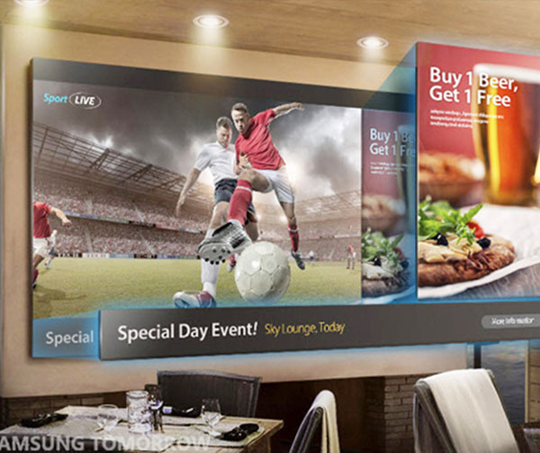 View of Samsung display TV in a restaurant.