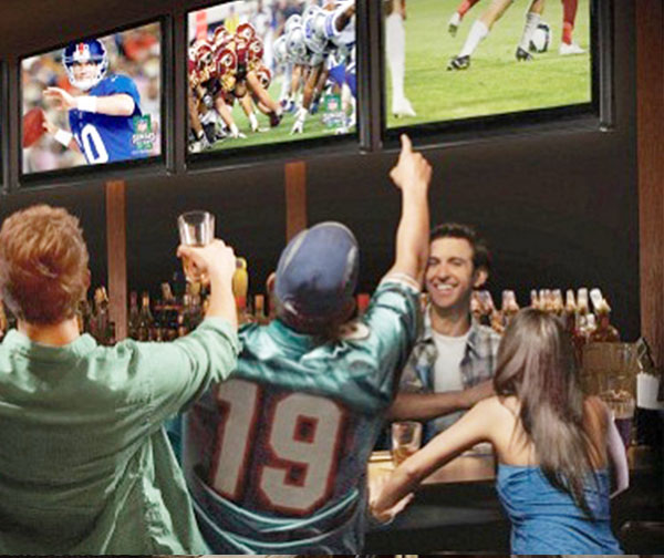Customers watching high-definition TV at a bar.