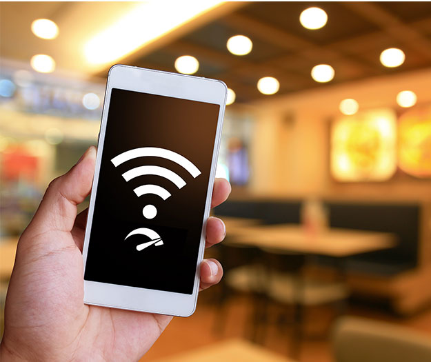 Phone with wifi in a restaurant