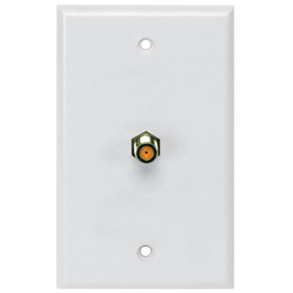 PV SCTE White wall plate, Single HF F81, UL DIRECTV Approved (Orange)