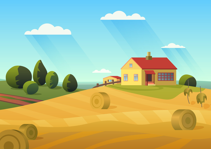 Graphic Image of Farm and Farmhouse which might might qualify as a mixed-use 1031 exchange.