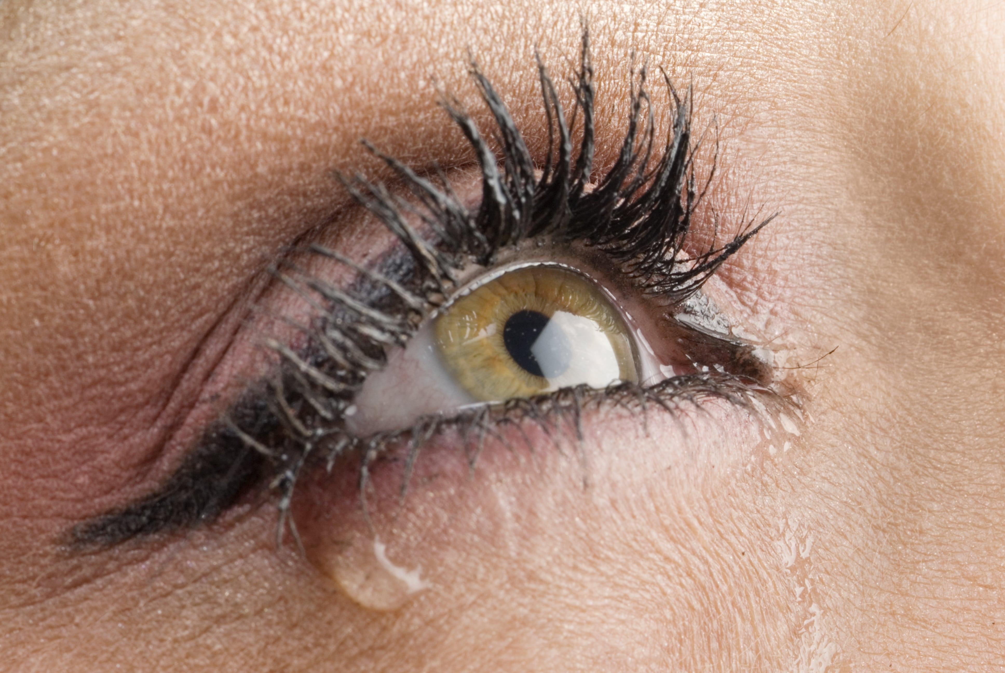 Hazel eye with a single teardrop