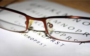 Glasses on Eyesight Test