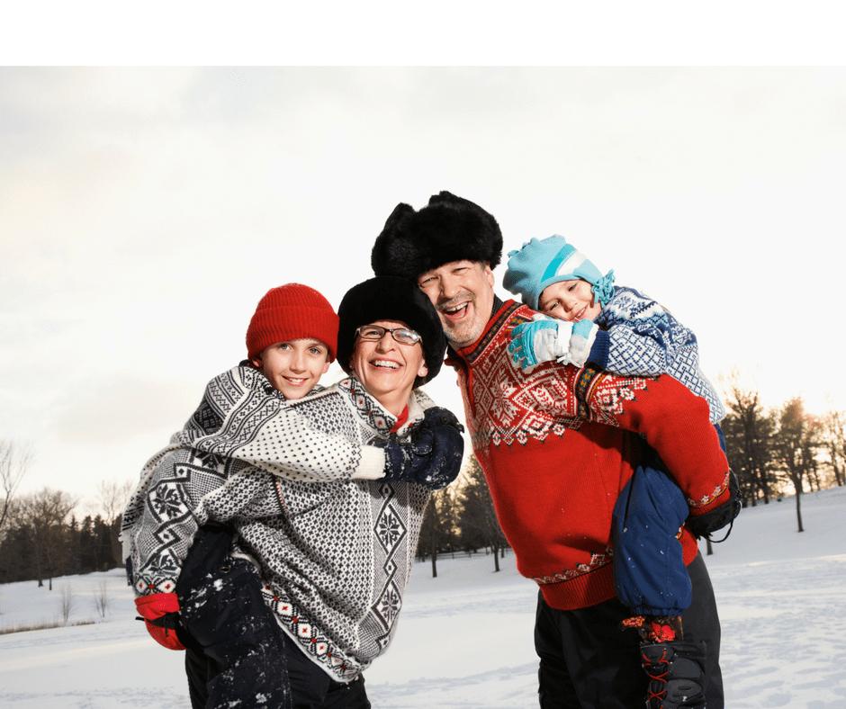 winter, grandparents, seniors