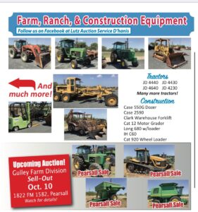 October 10th Farm Ranch Equipment Auction