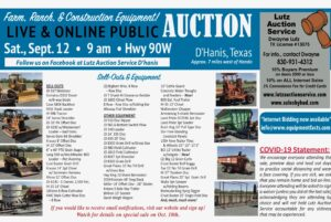 September 12th Farm Ranch Equipment Auction