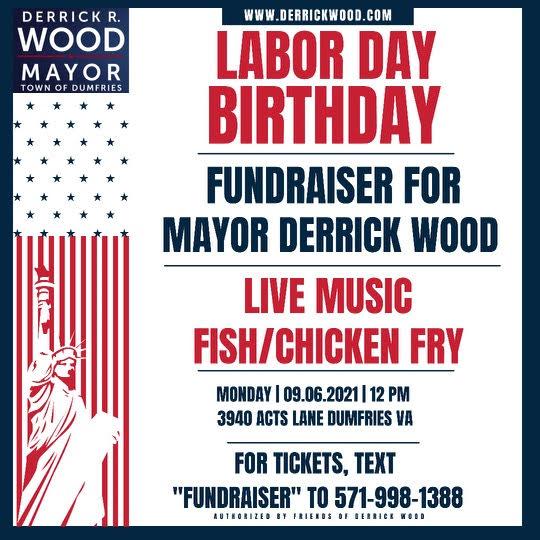 Labor Day Birthday Fundraiser for Mayor Derrick Wood