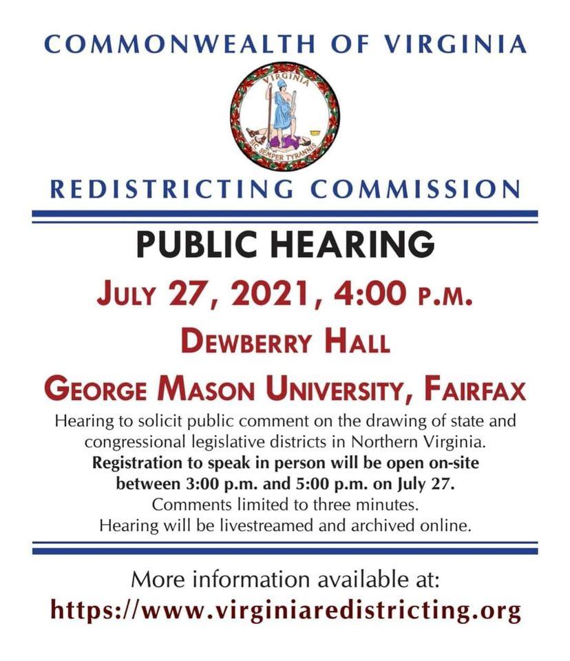 2021 Virginia Redistricting Public Hearing In Northern Virginia