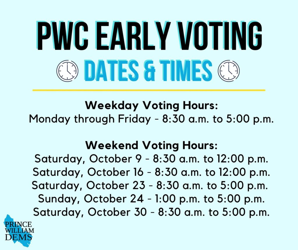 Prince William County Voting Dates and Times