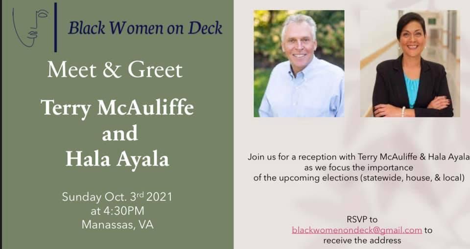 Terry McAuliffe and Hala Ayala Meet and Greet