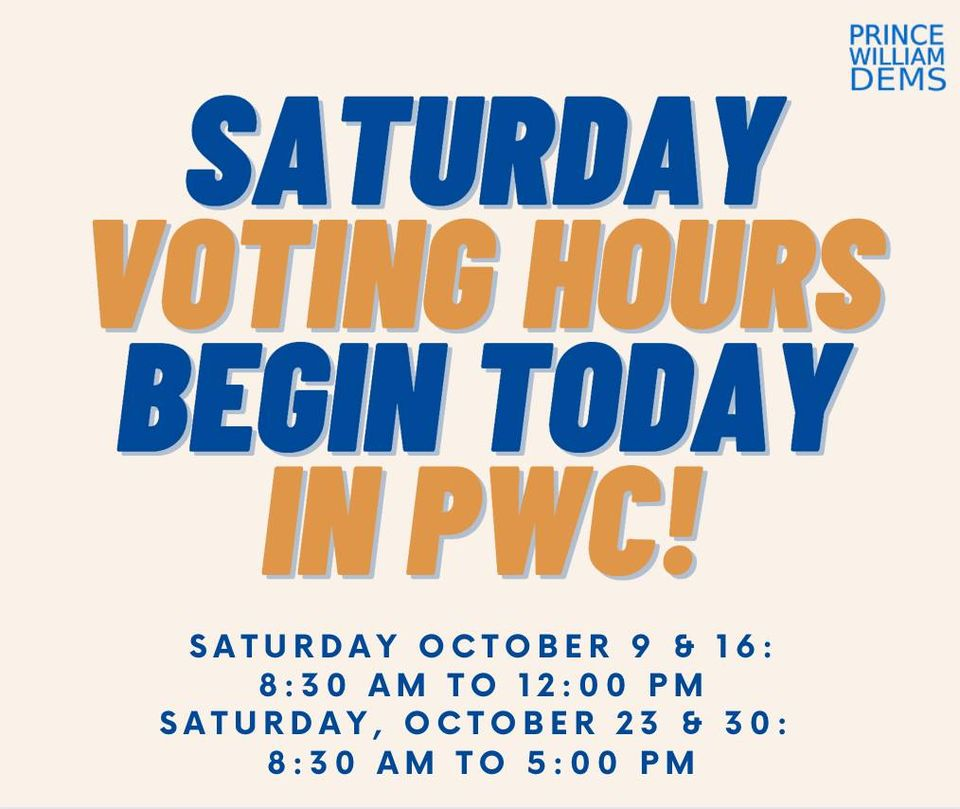 Saturday Voting Hours Begin Today October 9th in PWC