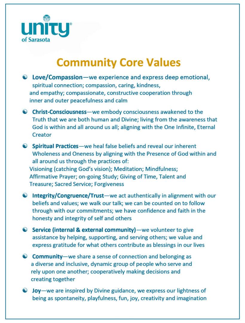 Community Core Values for Unity of Sarasota