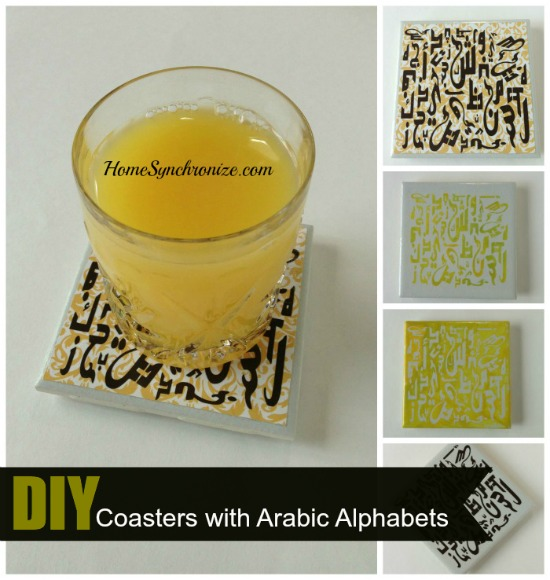coasters with arabic alphabets
