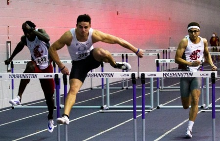 Devon Allen wins his heat in the 60m hurdles at the MPSF Indoor Championships in Seattle. Photo courtesy - Paul W. Harvey IV