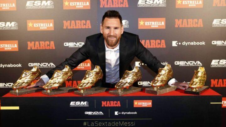 Lio Messi recibió su sexta Bota de Oro como máximo goleador en Europa