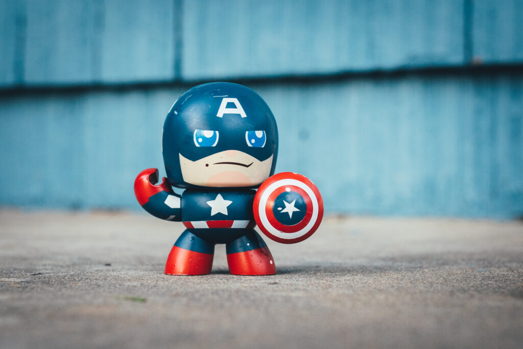 Photo of a superhero toy. Moms are superheroes.