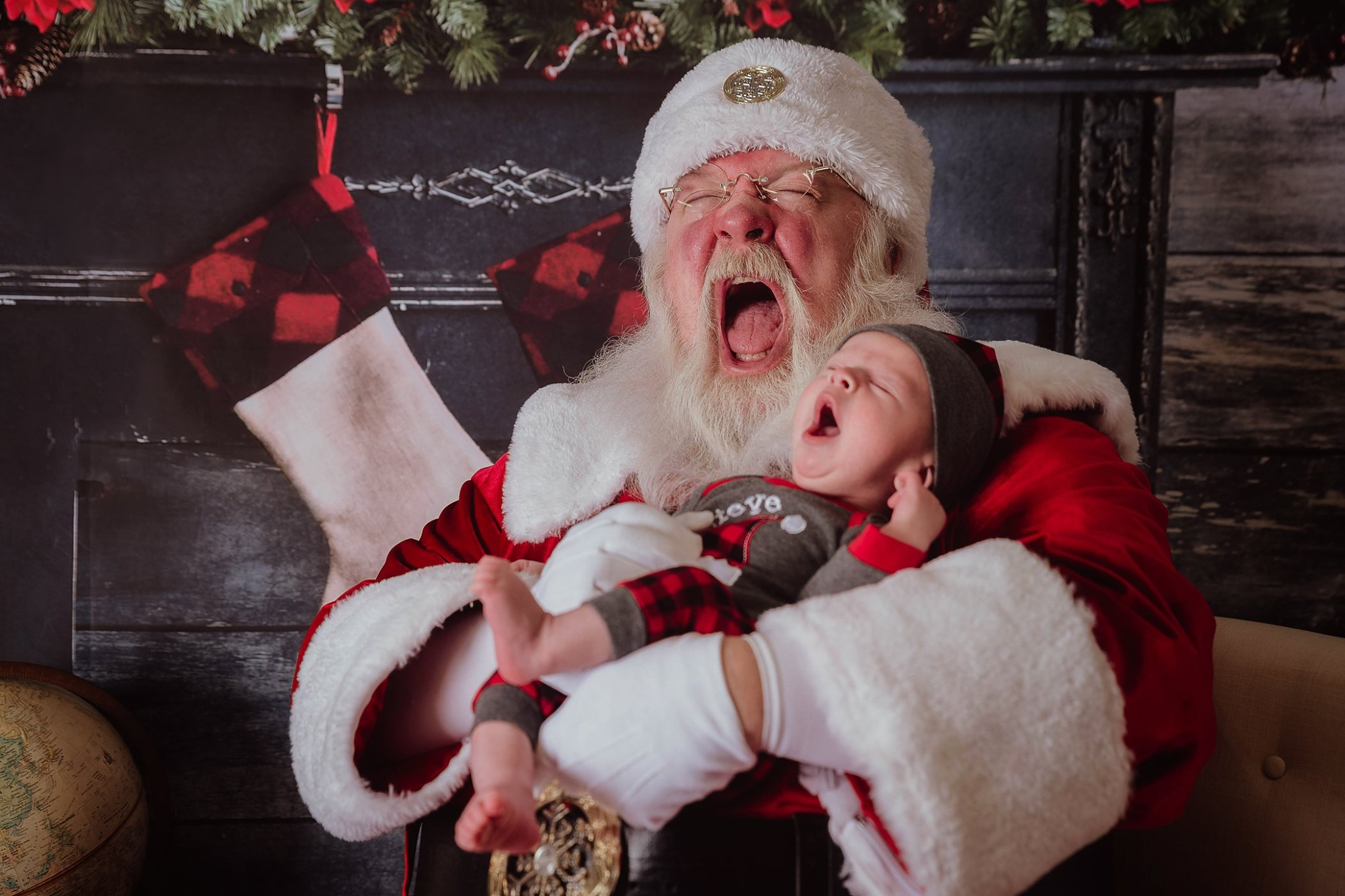 Santa Claus yawning during photo shoot
