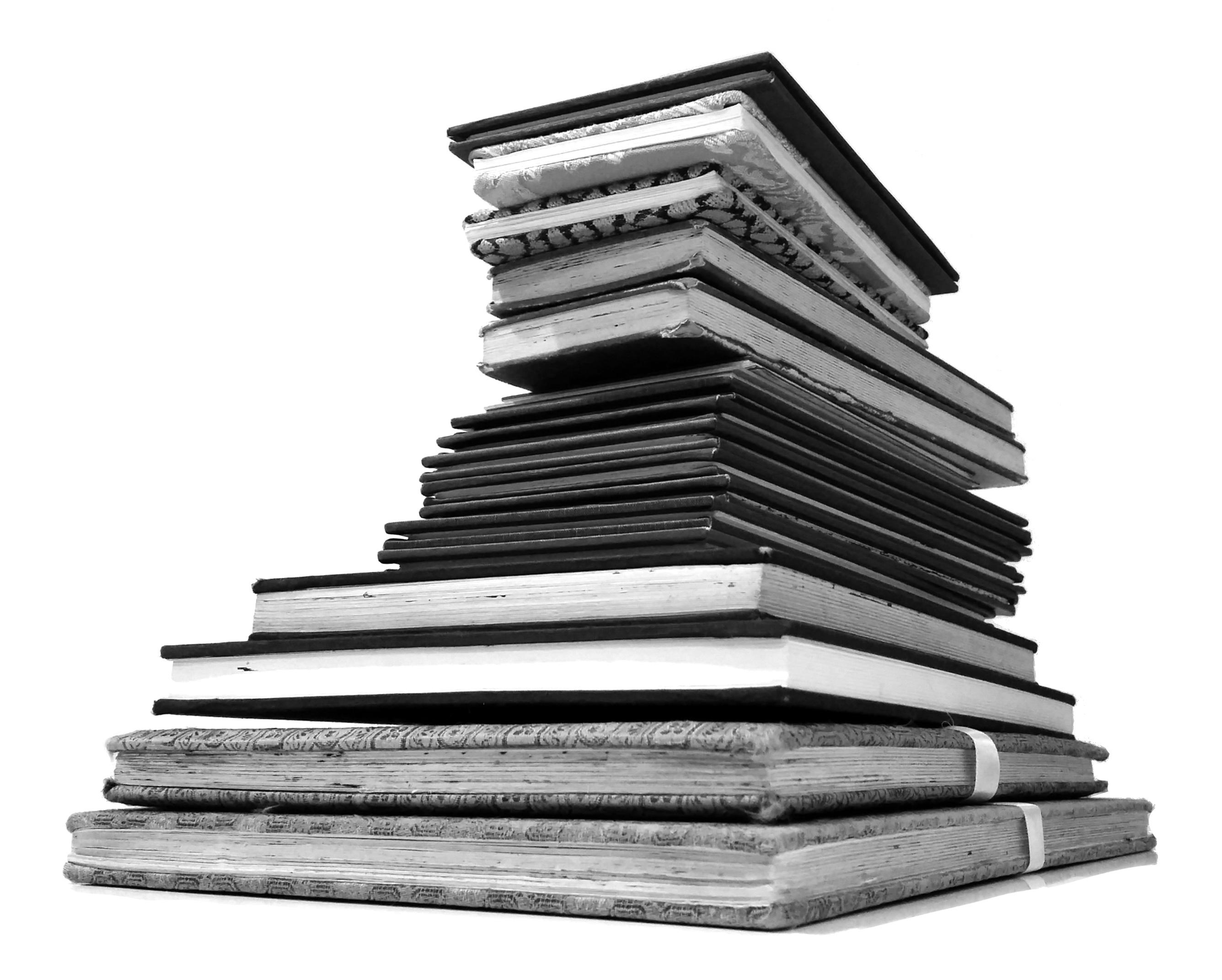 Stack of sketchbooks