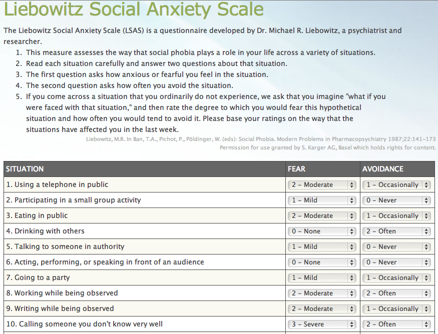 Liebowitz Social Anxiety Scale Test