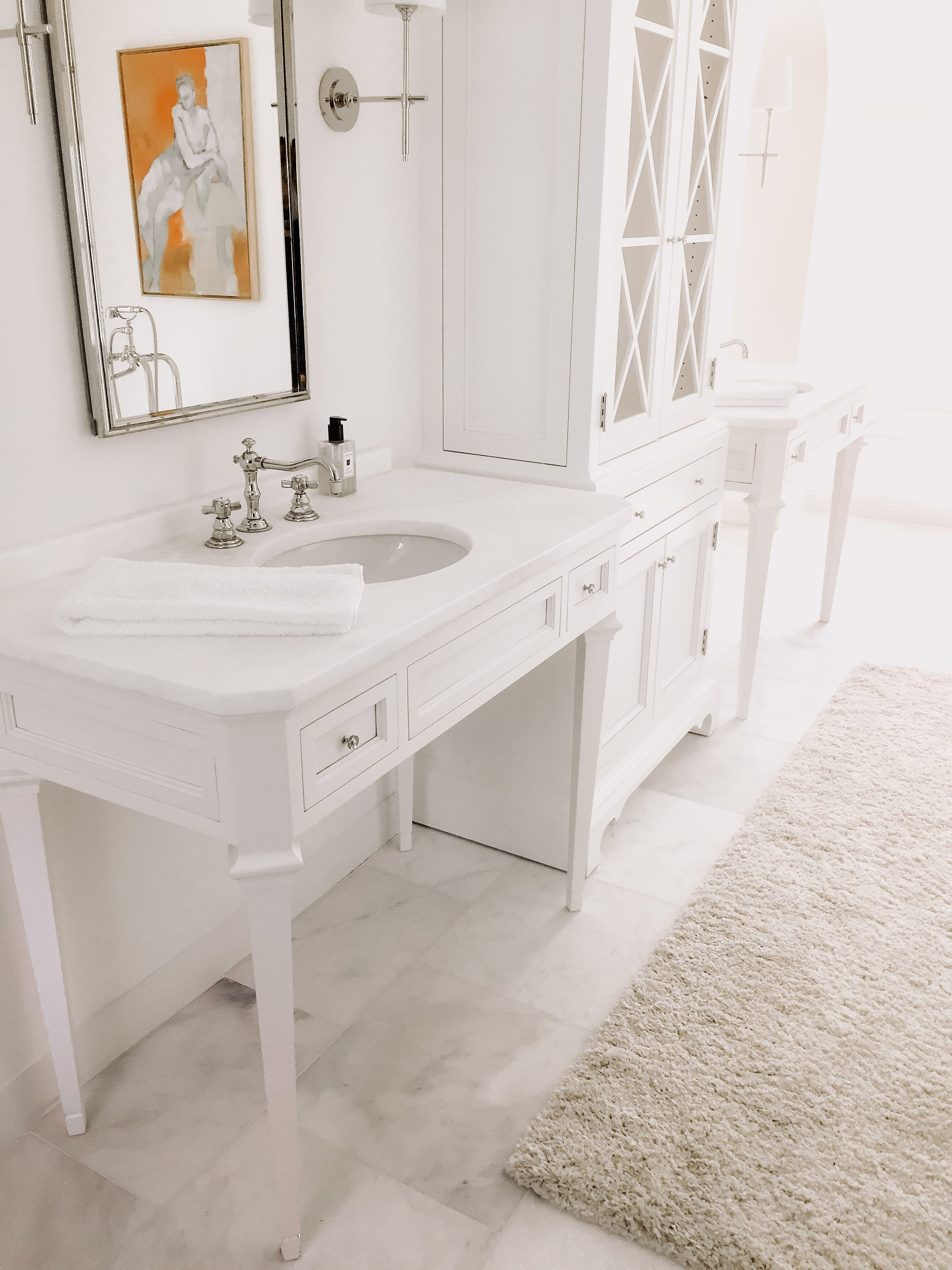 Classic White wooden double vanity with matching cabinets