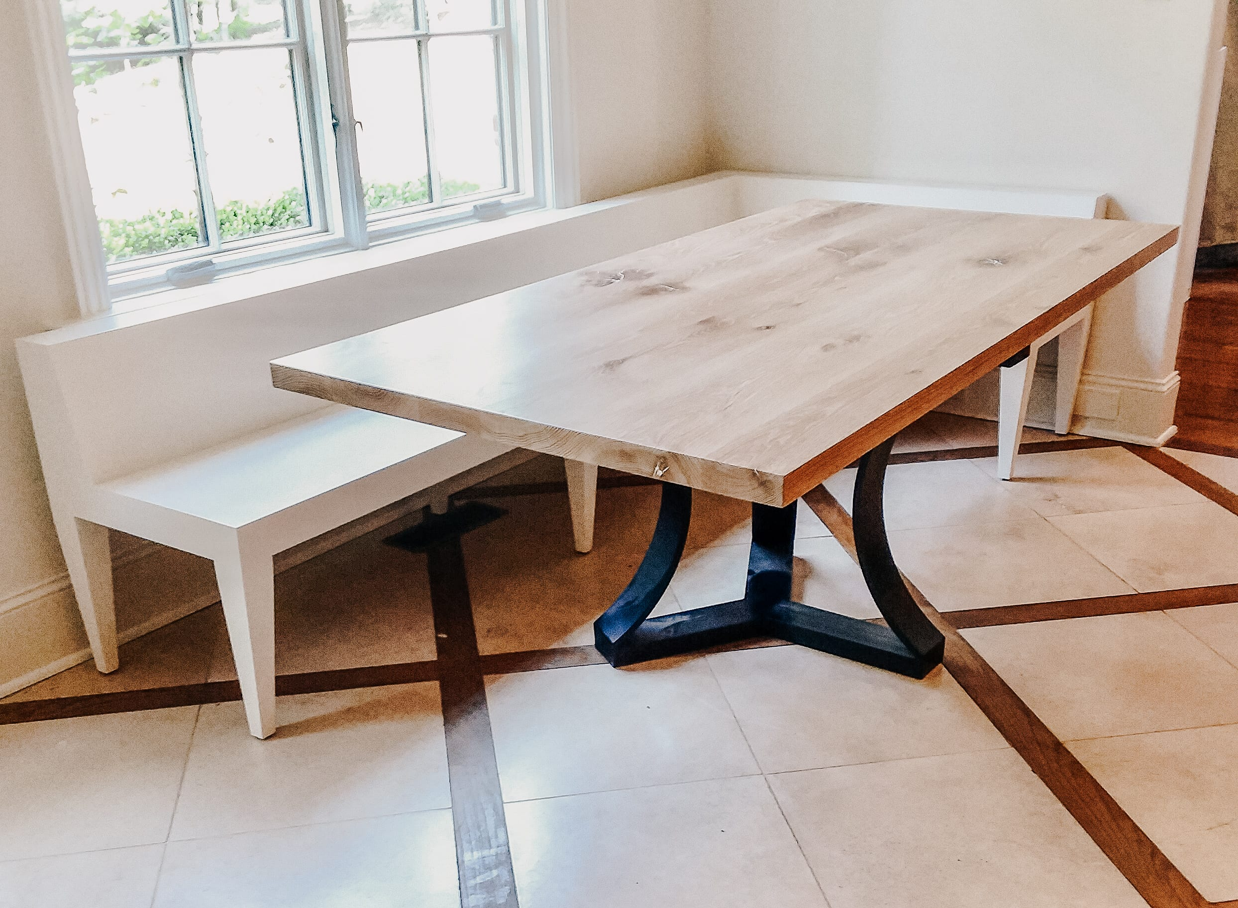 Oak and Steel nook Table