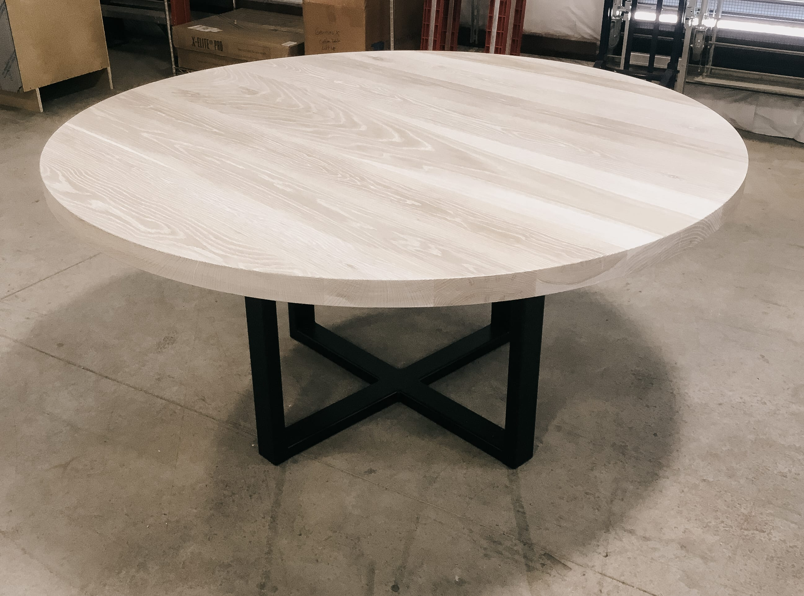 Steel and Oak Dining Table