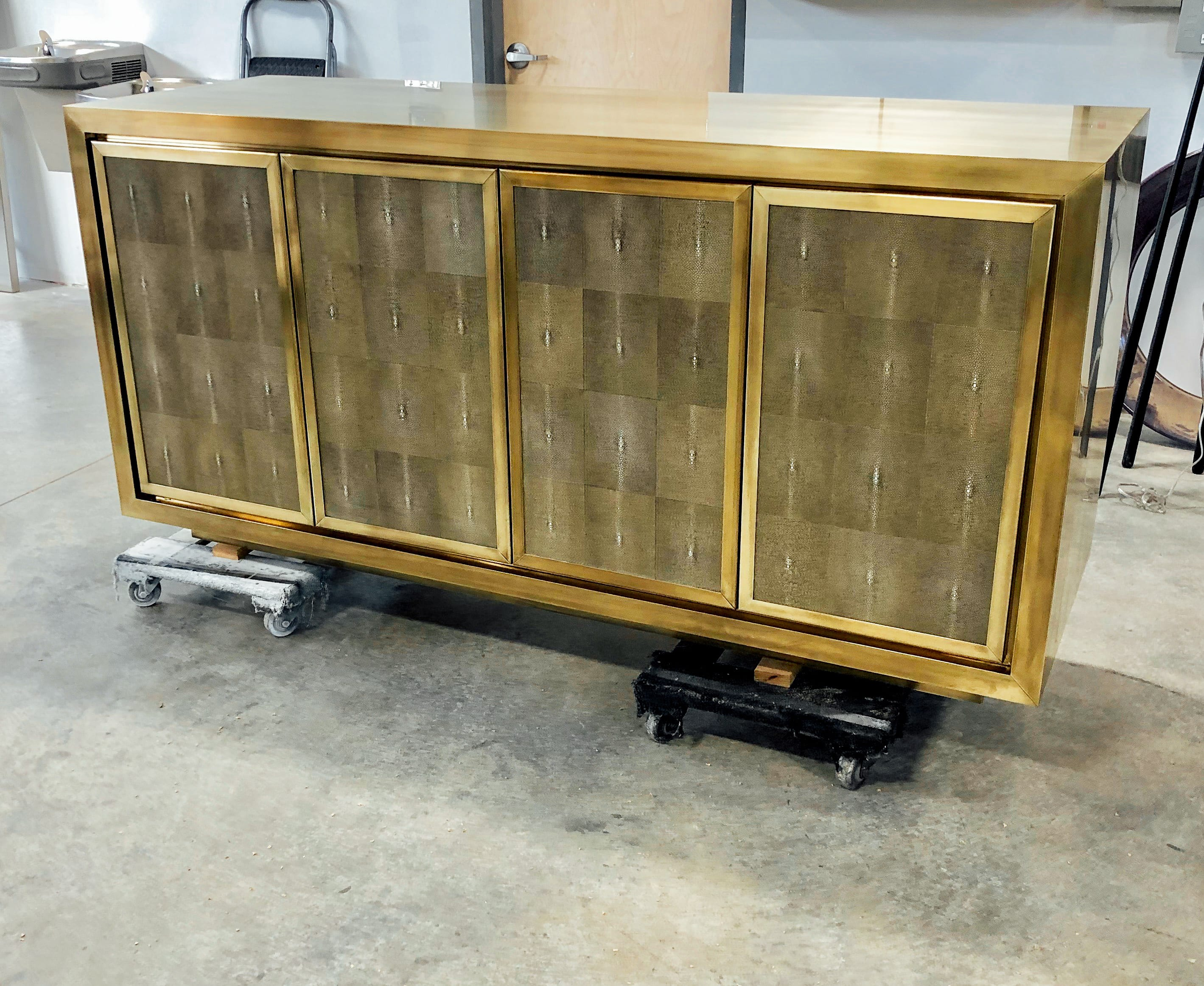 Brass and shagreen cabinet