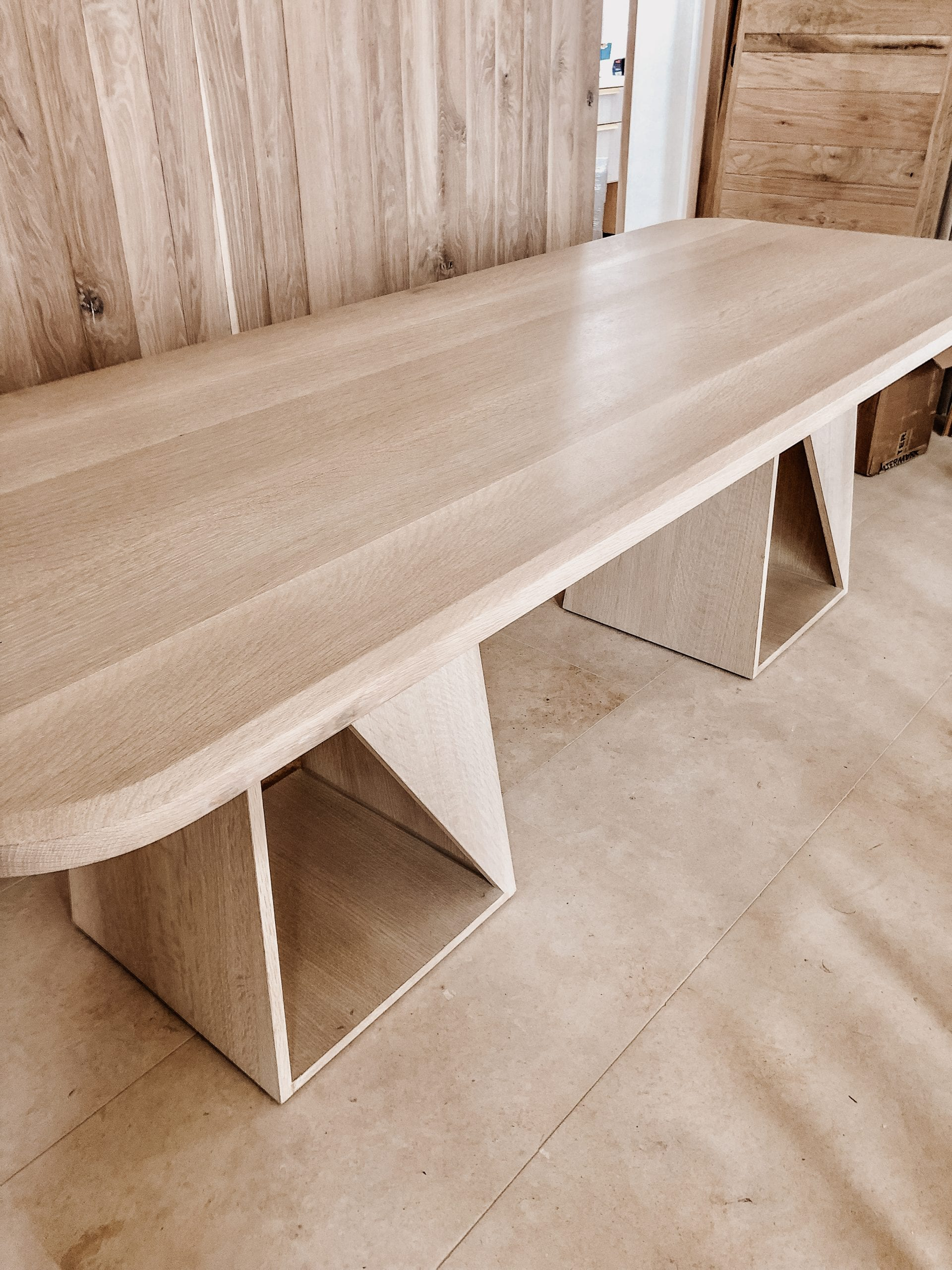 White Oak Long Dining Table side view