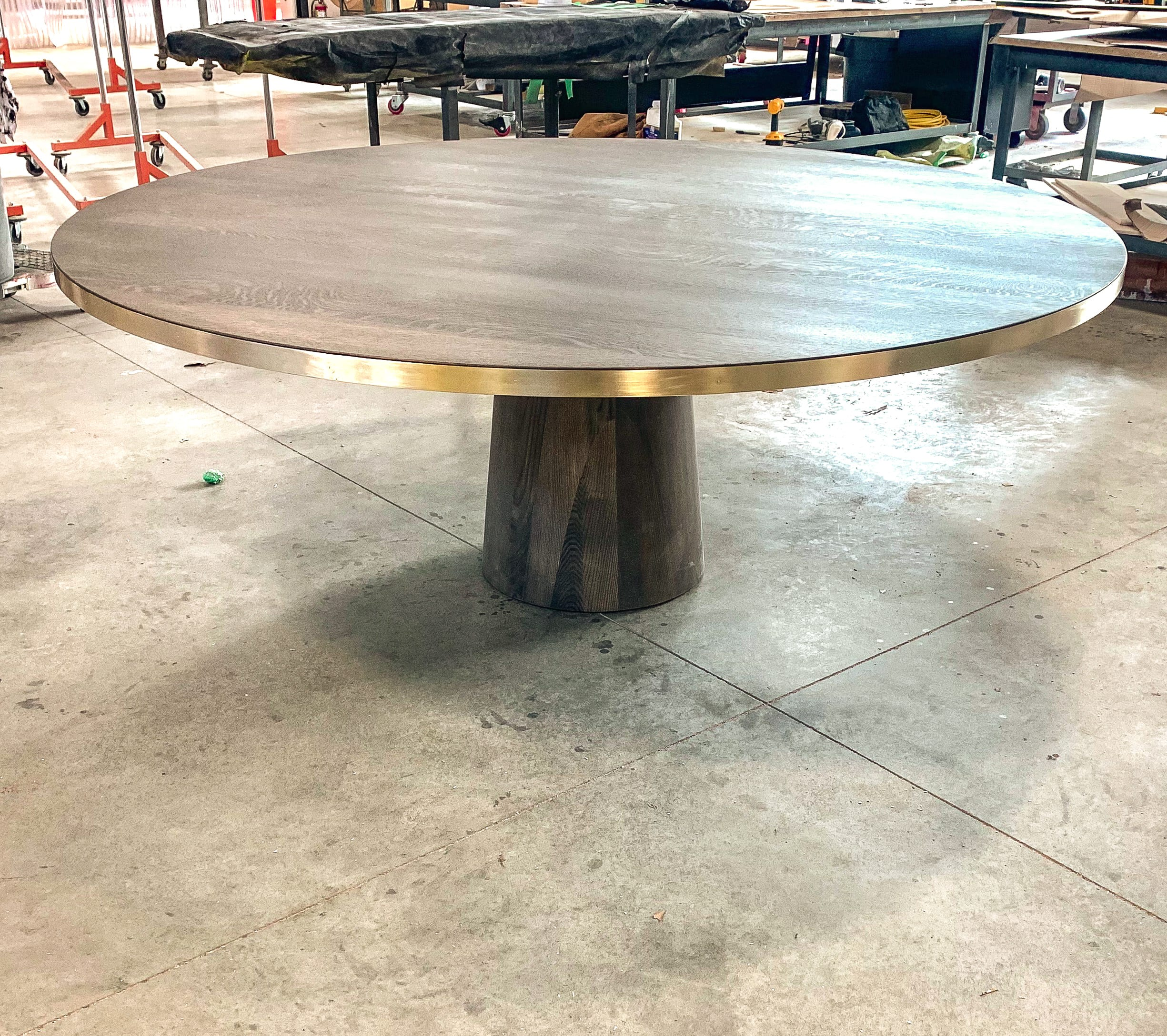 white oak and brass dining table