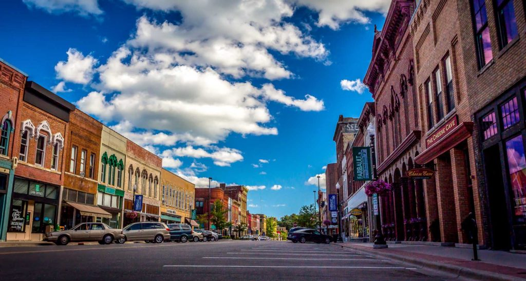 A view of downtown Faribault, MN on a beautiful day.