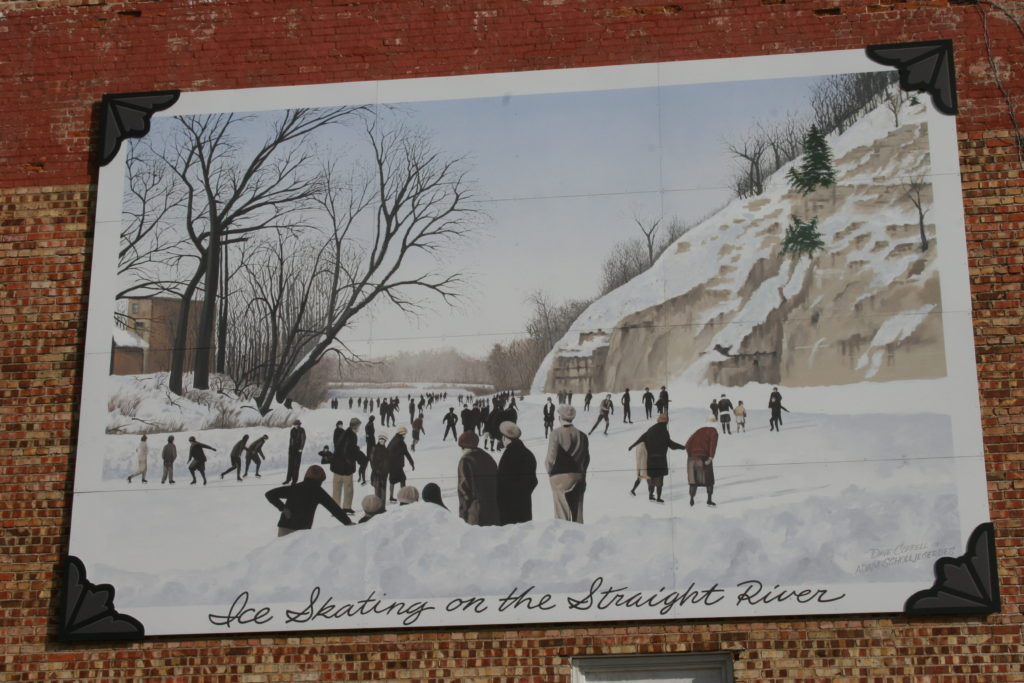 Skating on the Straight River mural